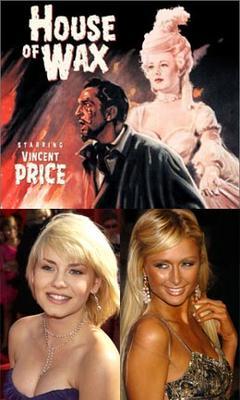 la locandina del film originale e le belle statuine Elisha Cuthbert e Paris Hilton