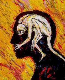 """""""Self-Portrait"""" di Clive Barker, olio su tela."""
